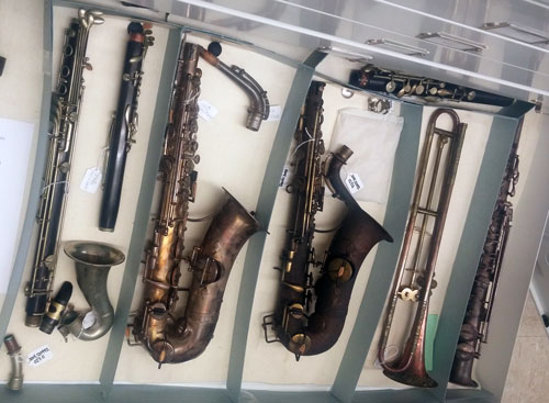 Instruments at the Sousa Archives and Center for American Music, Photo by Natalie Fiol