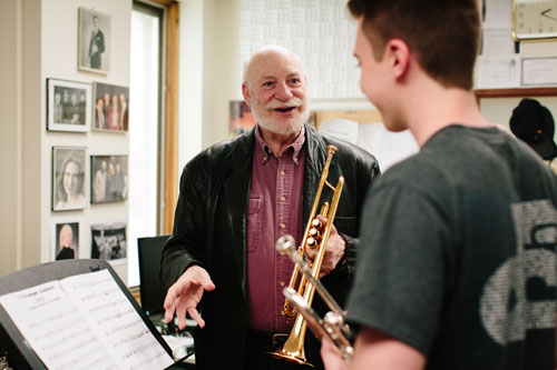 Trumpet Lesson with Ronald Romm, Photo by Natalie Fiol