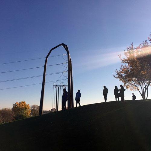 Landscape Architecture Students at Gold Medal Park in Minneapolis