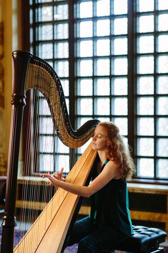Harpist in Smith Memorial Hall, Photo by Justine Bursoni