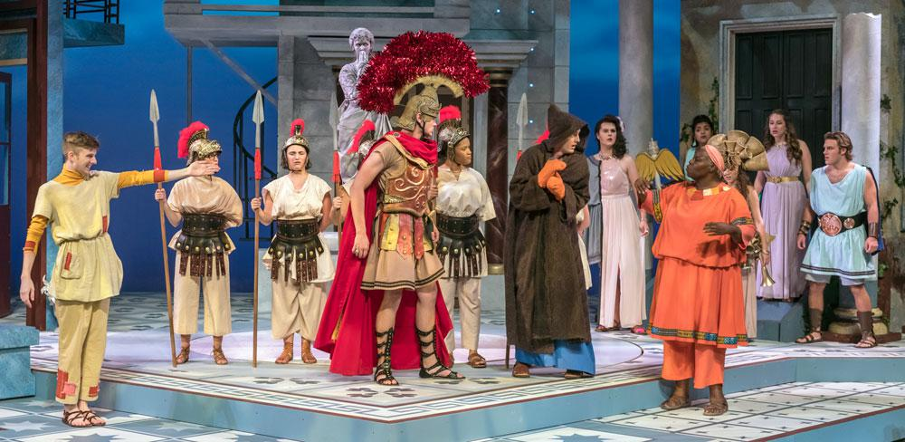A Funny Thing Happened on the Way to the Forum, Illinois Theatre, October 2018, Photo by Darrell Hoemann