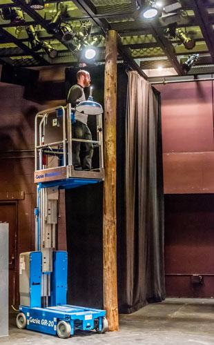 Installing Scenery at Krannert Center, Photo by Darrell Hoemann
