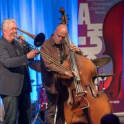 Jim Pugh and Larry Gray in Jazzissimo, DoCha, April 2017, Photo by Darrell Hoemann