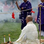Buddists Pray at Matsuri