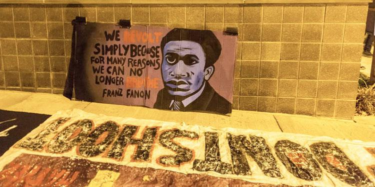 Image of Frantz Fanon at a Protest 2020