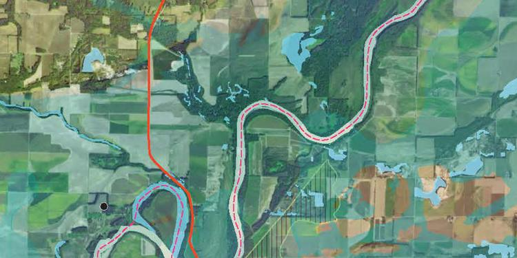 Detail from Jackie Lopez Survey for STATELINE: Portrayals of the Lower Wabash River Landscape, 2013